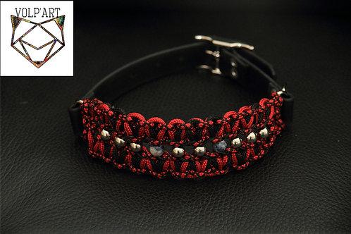 Collier coloris rouge-noir pour chien / chat avec pierres thérapeutique