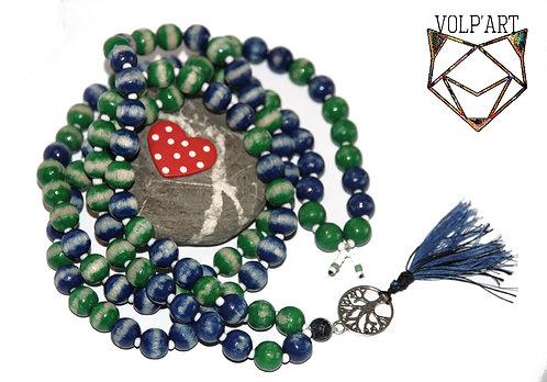 Mala 108 perles en bois / agate / arbre de vie - réf. m02