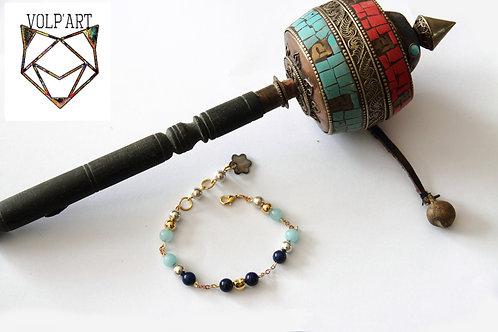 Bracelet amazonites / lapis lazulis - réf. b01
