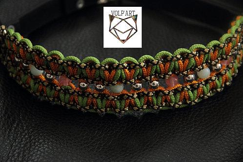 Collier coloris orange-vert pour chien / chat avec pierres naturelles