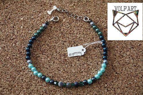 Collier coloris bleu-vert pour chien / chat avec pierres thérapeutiques