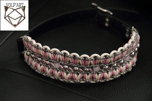 Collier coloris rose-gris-beige pour chien / chat avec pierres thérapeutique