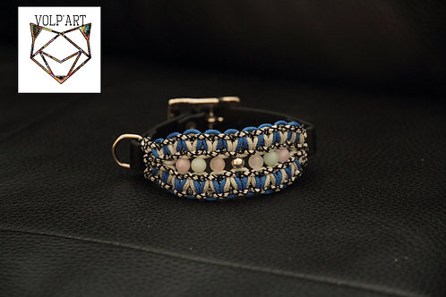 Collier coloris bleu-gris pour chien / chat avec pierres naturelles