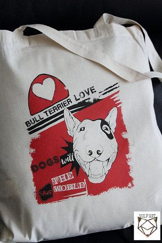Tote Bag Bull Terrier 11 - 38 x 42 cm