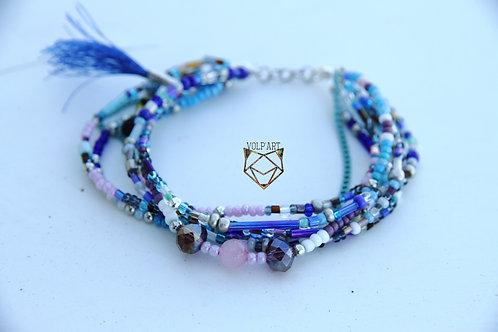 Bracelet multi rangs avec quartz rose - réf. b12