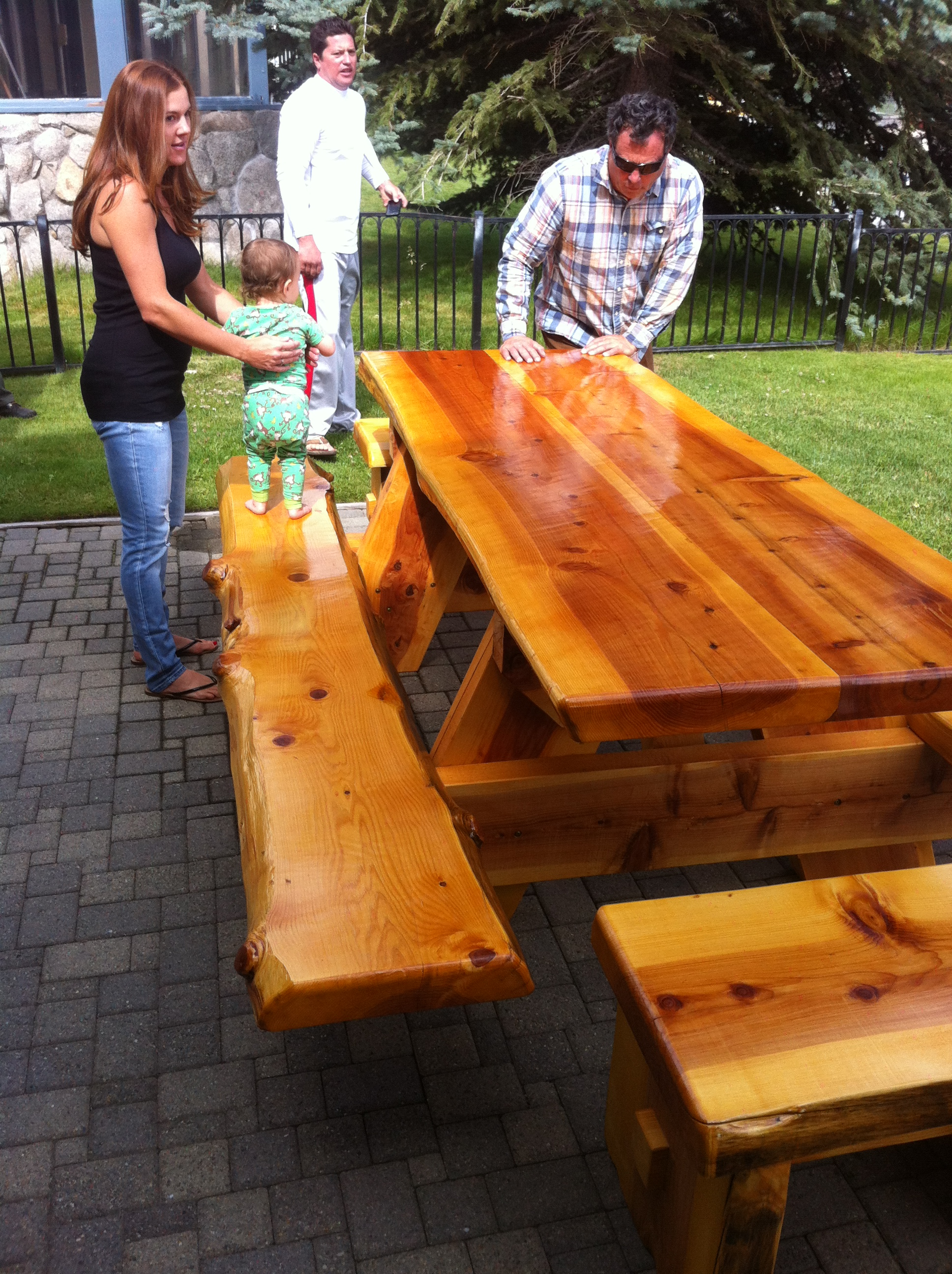"3"" cedar picnic with benches"
