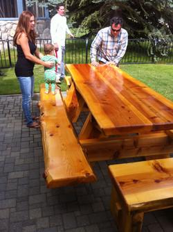 "3"" cedar picnic with benches"