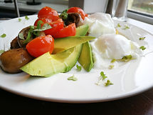 Veg Breakfast with Avocado and Veg Sausa