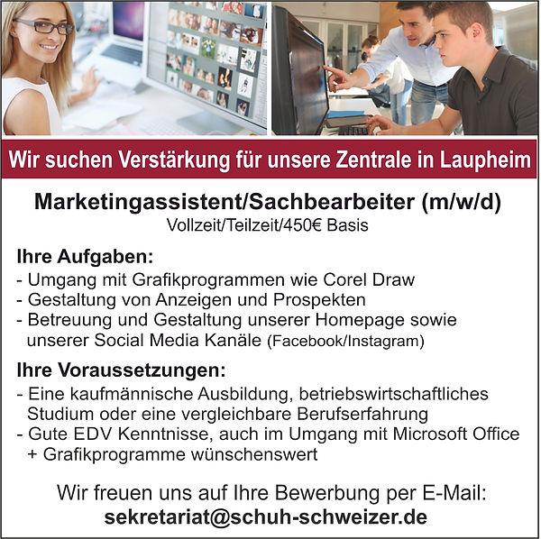 Anzeige Personal - Zentrale - Marketing