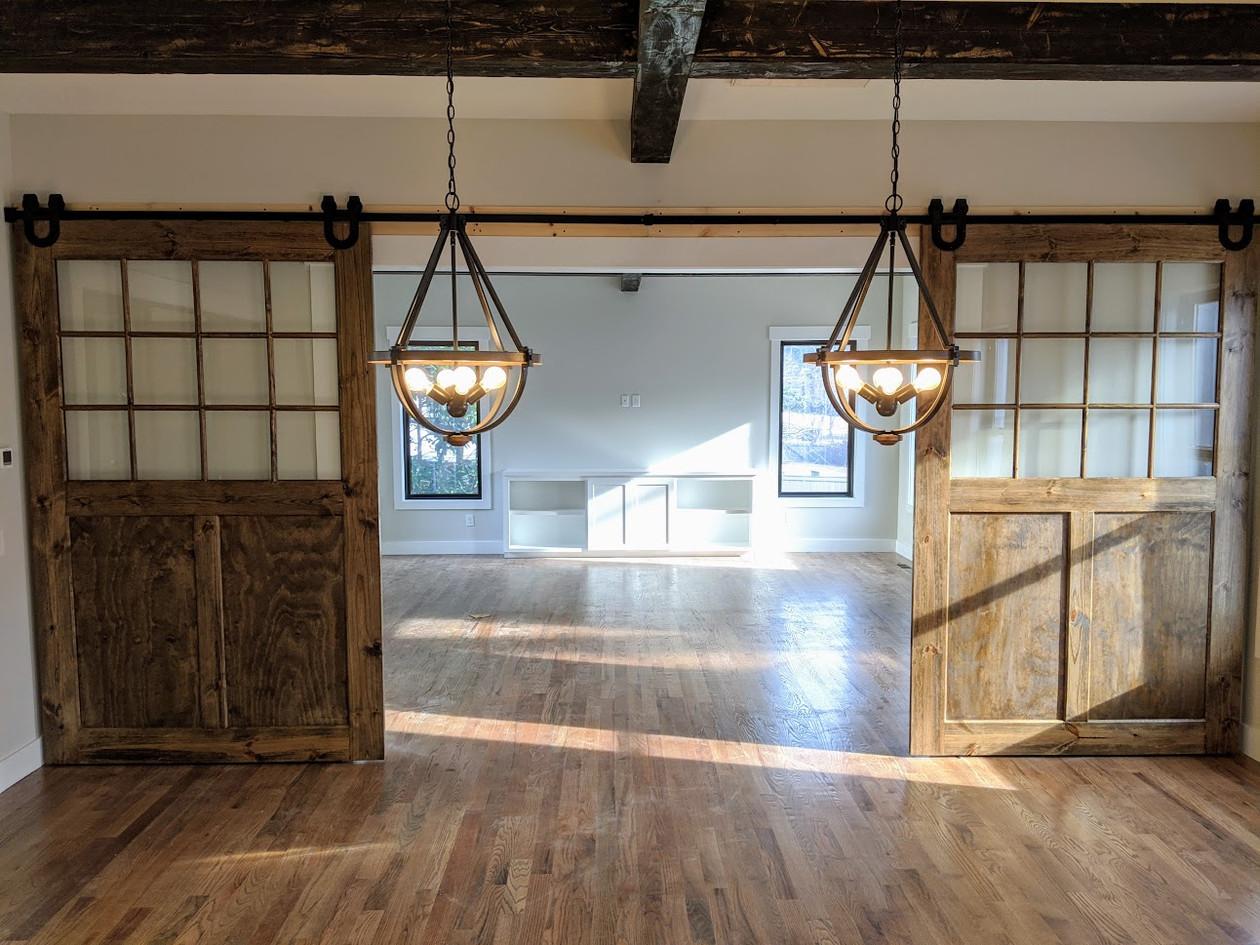 Barn doors with glass