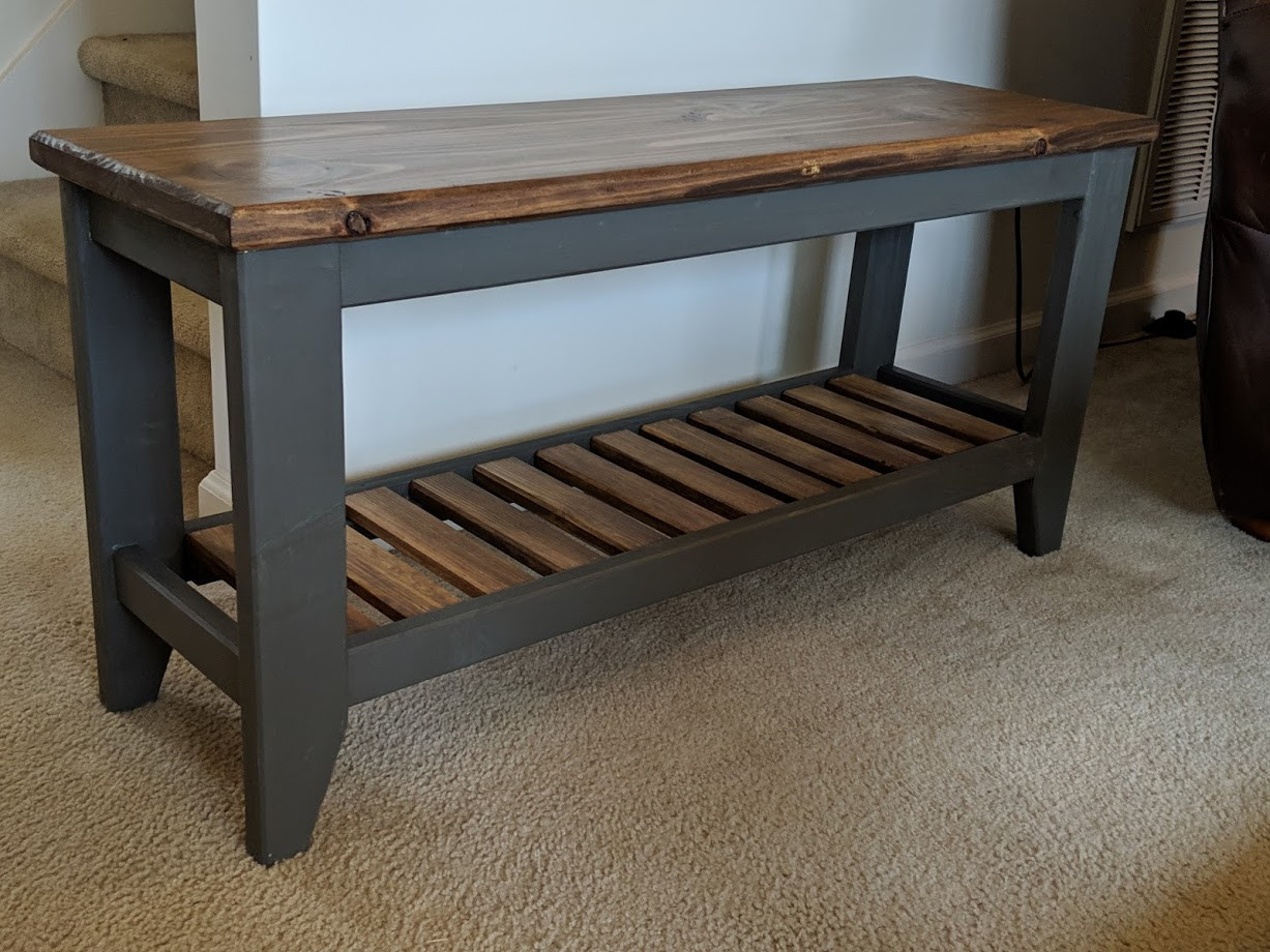 Entry bench with slatted shelf