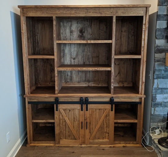 Large hutch with barn doors