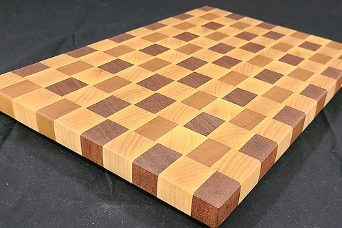 End Grain Cutting Board with Maple, Mahogany and Cherry