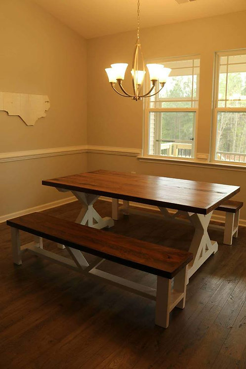 Trestle Farm Table with Hardwood Top