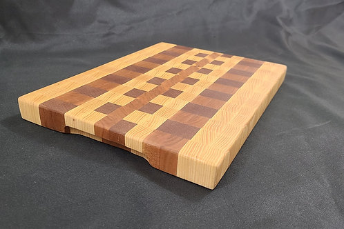 End Grain Cutting Board with Hickory, Mahogany and Cherry
