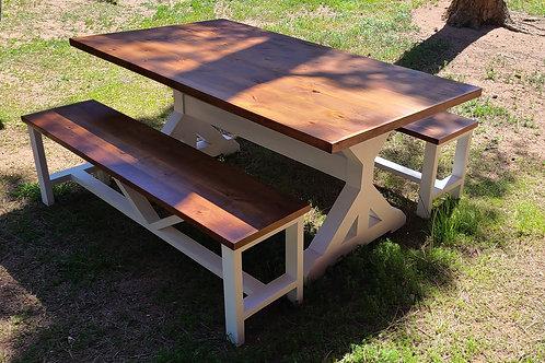 Trestle Farm Table with Hardwood Top