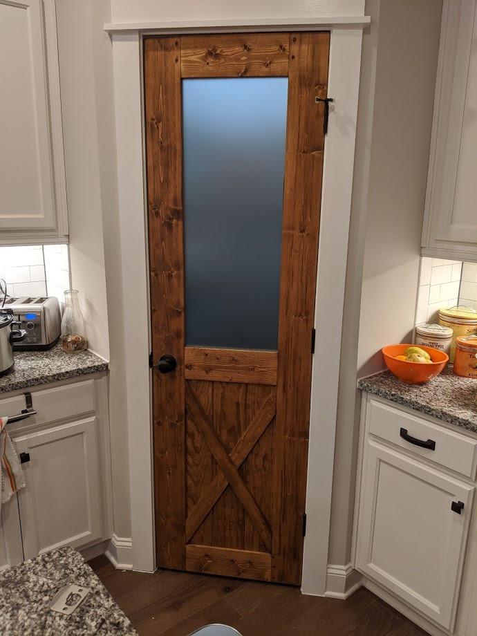 Pantry door with frosted glass