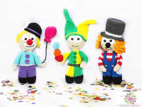 Flauschiges Clown Trio - Häkelanleitung DE| ENG