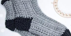 Knitting Loom Socken -  mit linken und rechten Maschen | Easy | Strickring