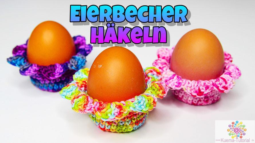 Süße Eierbecher in Blütenoptik, schnell und einfach Häkeln. Die Anleitung ist als Video und Textanleitung verfügbar.