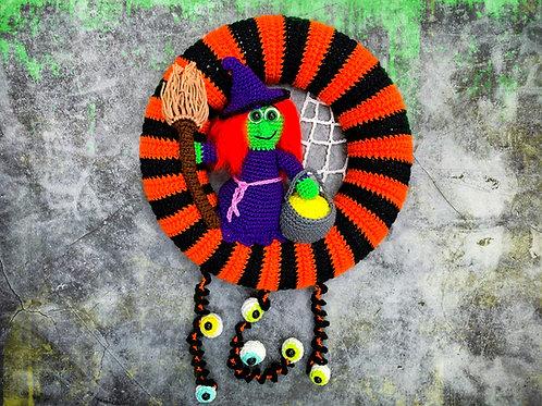 Türkranz Halloween mit Hexe - Häkelanleitung