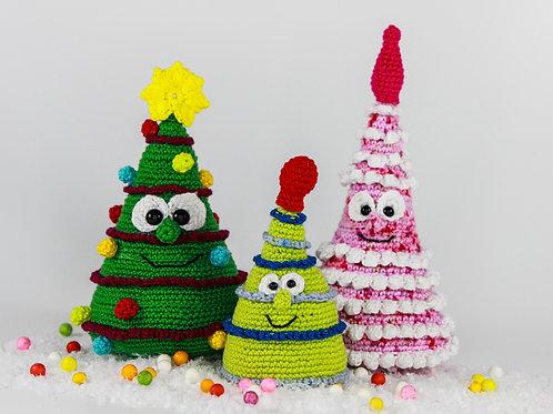 Lustige Weihnachtsbäume - Häkelanleitung DE|NL