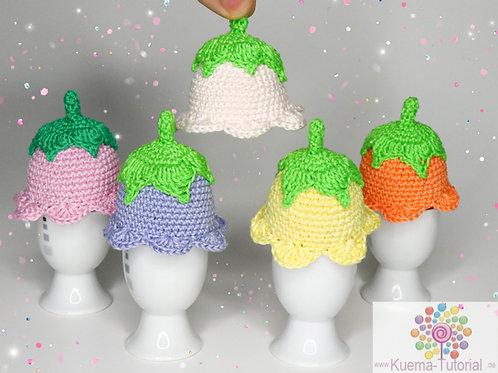 Blüten Eierwärmer - Häkelanleitung DE NL