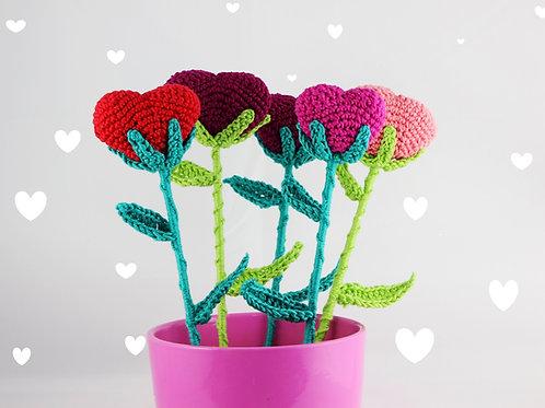 Dekorative Herzblumen - Häkelanleitung