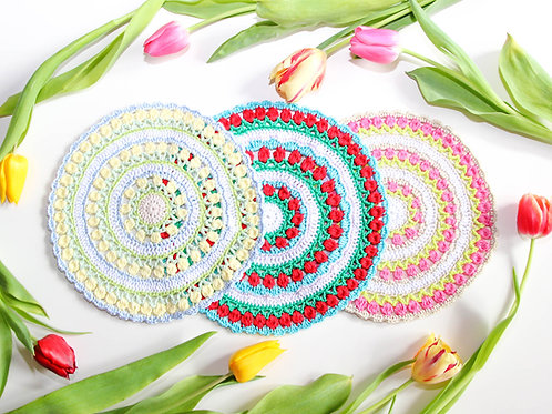 Tischdekoration - Blumen Mandala - Häkelanleitung