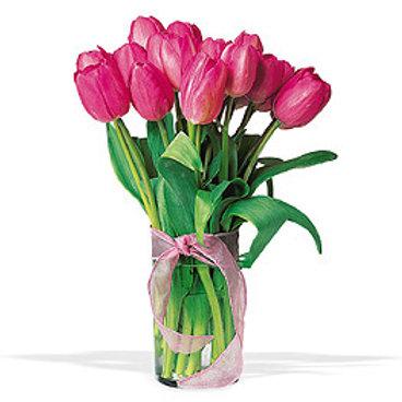 Valentine's Tulips in Vase