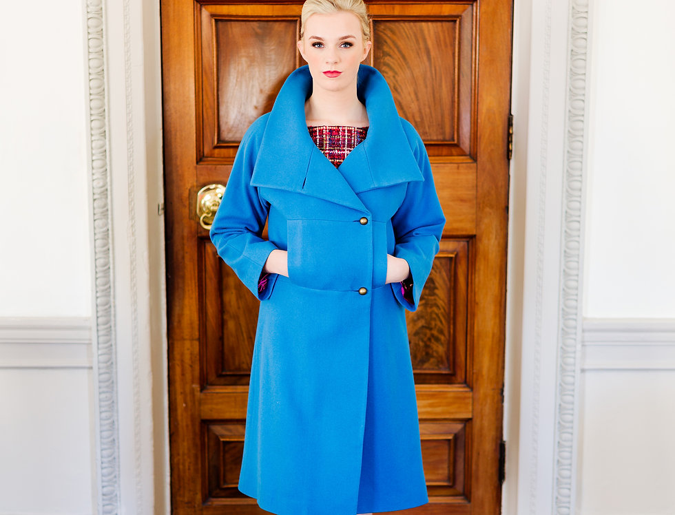 Cornflower blue wool double breasted coat