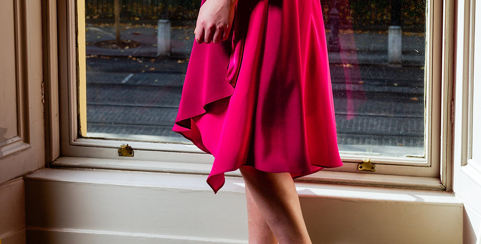 Silk asymmetric skirt