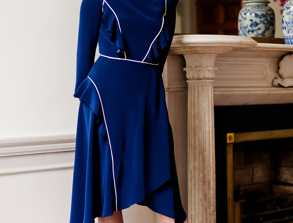Navy blue satin back crepe dress with of-white piping detailing