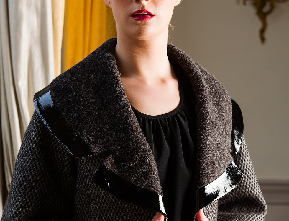 Charcoal Grey wool Aline Coat