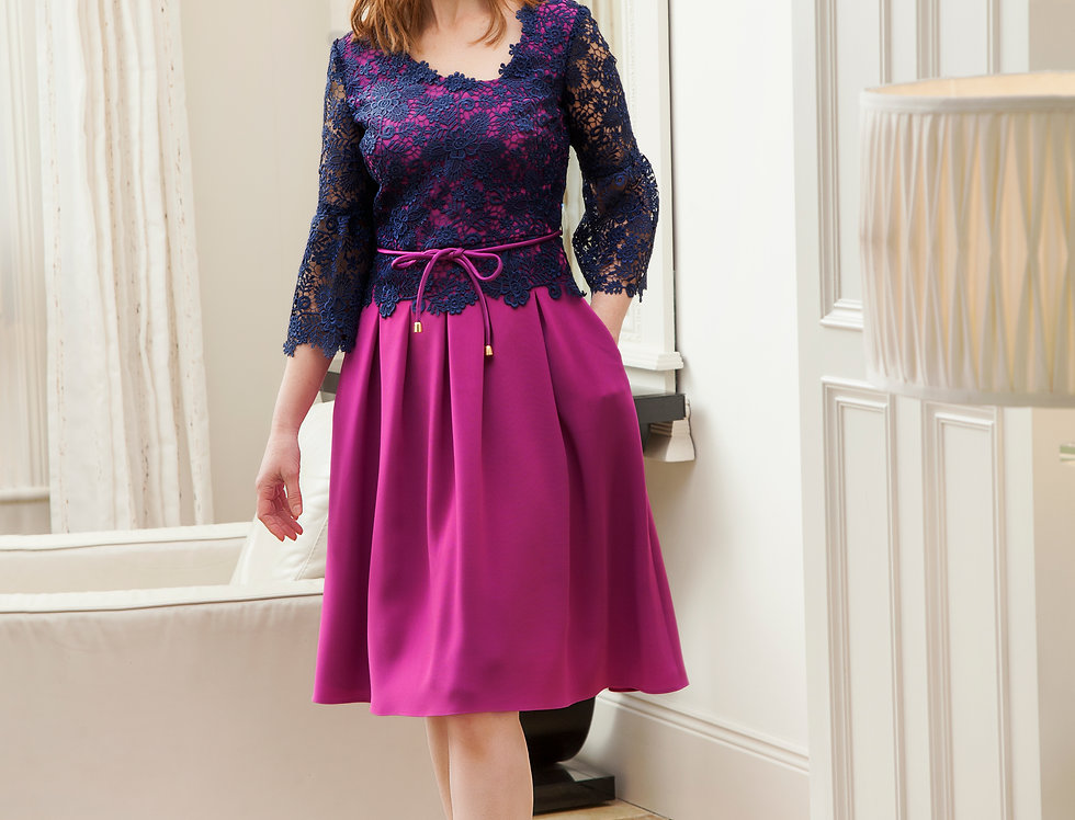 SOLD OUT Pink & Navy Pleated Dress