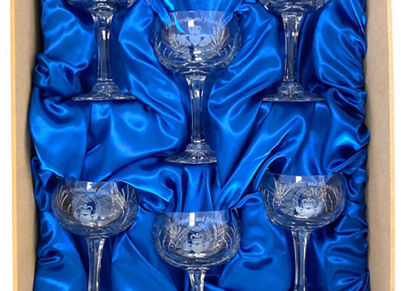 Saucer Champagnes, boxed set of 4, or 6
