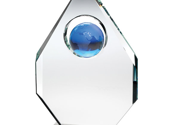 Diamond Award with blue globe mounted in Middle