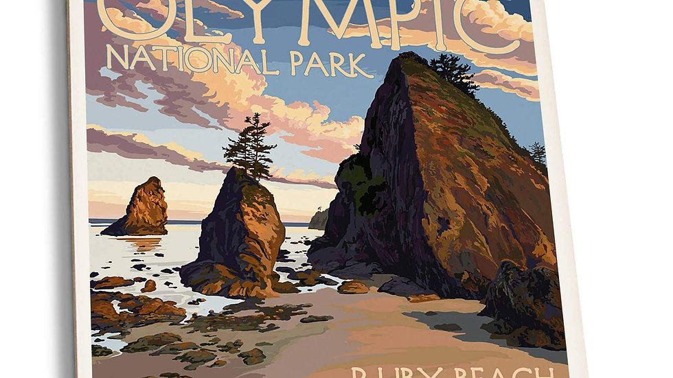 Olympic National Park - Washington Ruby Beach Ceramic Coasters