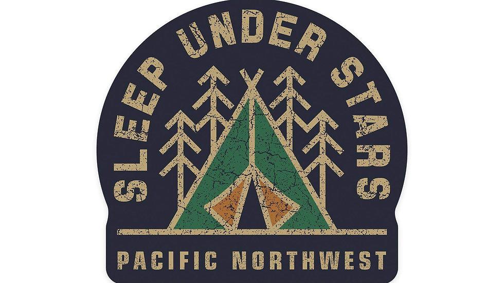 Pacific Northwest - Sleep Under the Stars - Camping  Sticker, Indoor/Outdoor