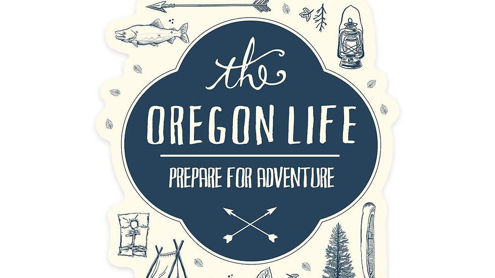Oregon - The Oregon Life - River and Camping Collage  Sticker, Indoor/Outdoor