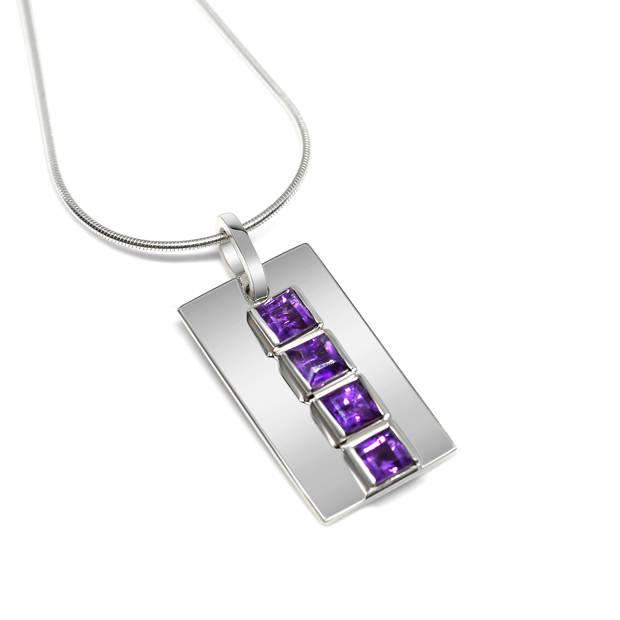 Rectangular silver Amethyst pendant