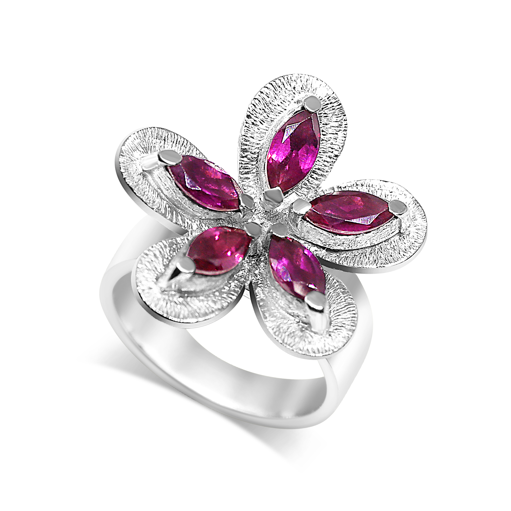 Flower Cocktail Ring Rhodolite Garnet
