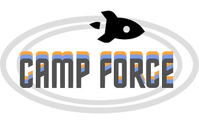 Logo for 1073's camp force, with a rocket inside a blue and orange orbit