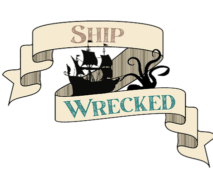 Pirate-themed ship wrecked logo with a kracken attacking a ship and scrolls with the game name