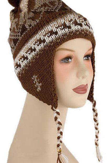 Tuque en tricot avec rabat d'oreille avec motif alpaga - mélange d'alpaga
