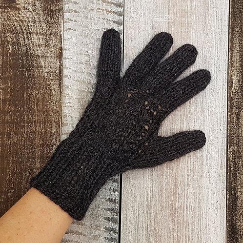 Gants doublés en tricot torsadé en Alpaga - Mélange Alpaca - Qualité Rustique