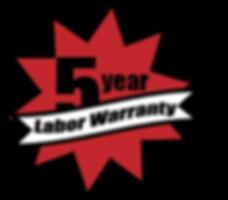 5 year labor warranty