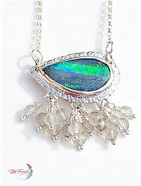 Australian boulder opal pendant necklace, sterling silver necklace pendant, labradorite cluster pendant