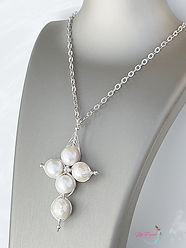 Pearls Cross, Sterling Silver Cross, Wrapped Pearl Cross, Gemstone Necklace