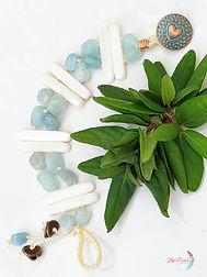 Aquamarine bracelet, double starnd bracelet, aquamarine and mother of pearl bracelet, boho bracelet, gemstone bracelet